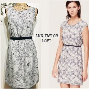 Ann Taylor LOFT Gray Floral Dress
